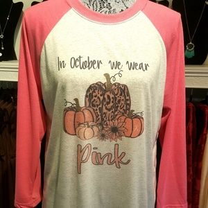 Breast Cancer Awareness Pink Raglan T-shirt